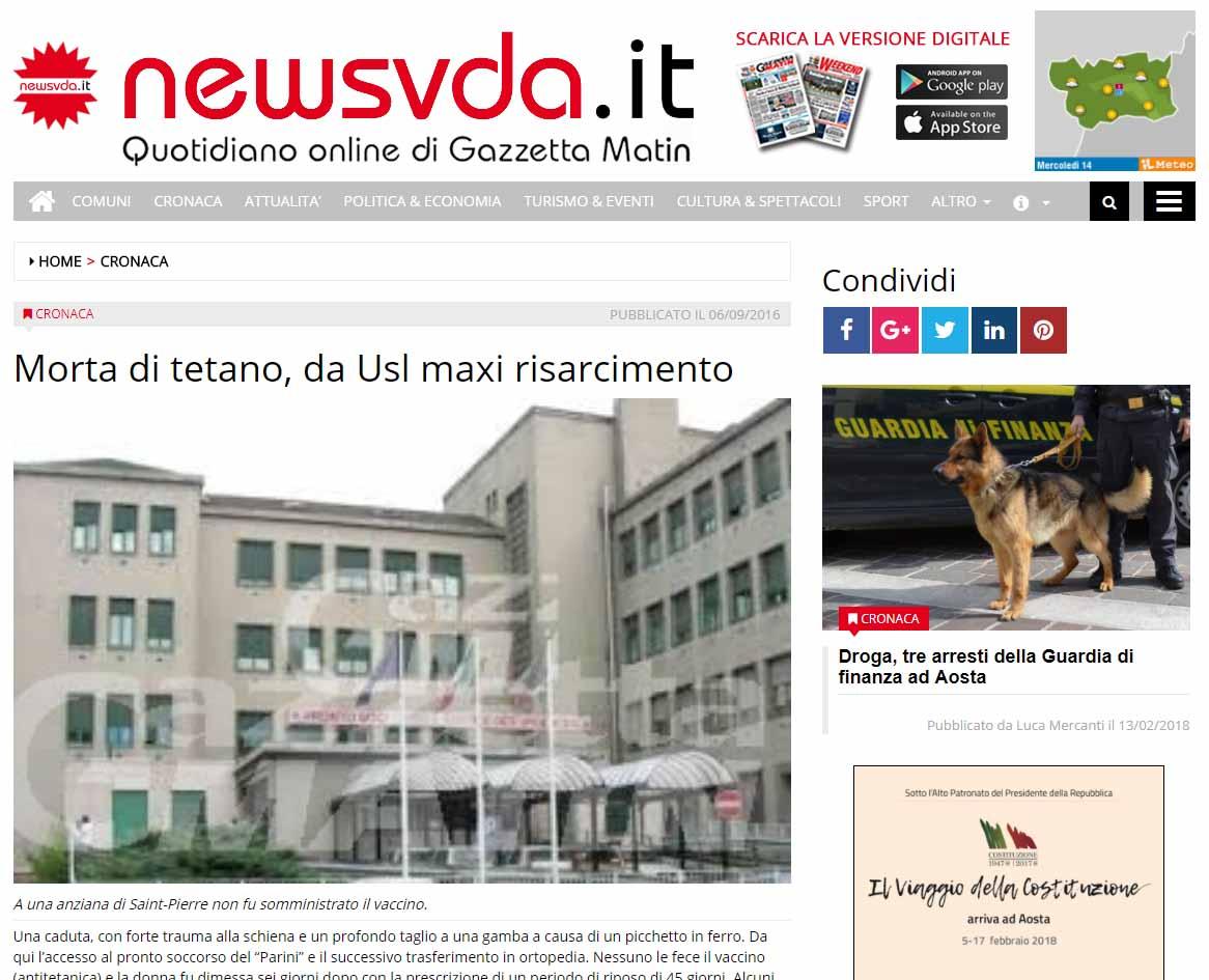 Malasanità Aosta