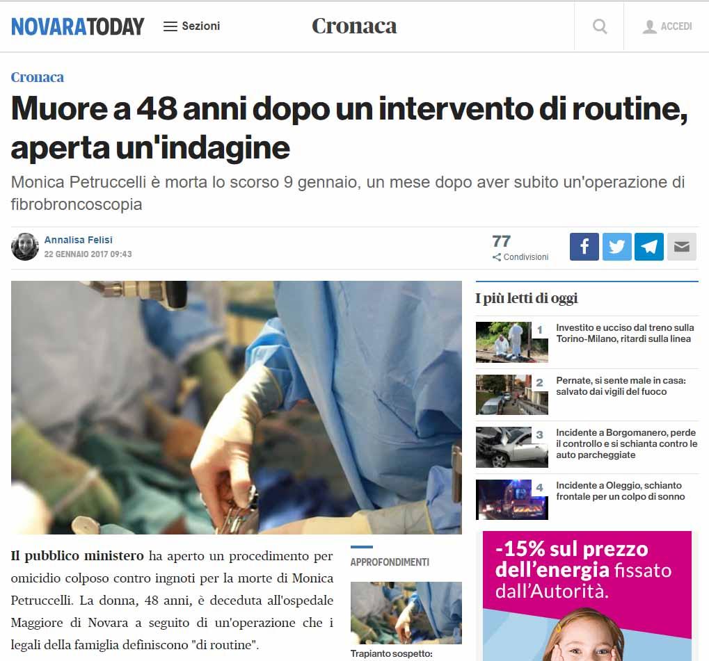 Malasanità Novara