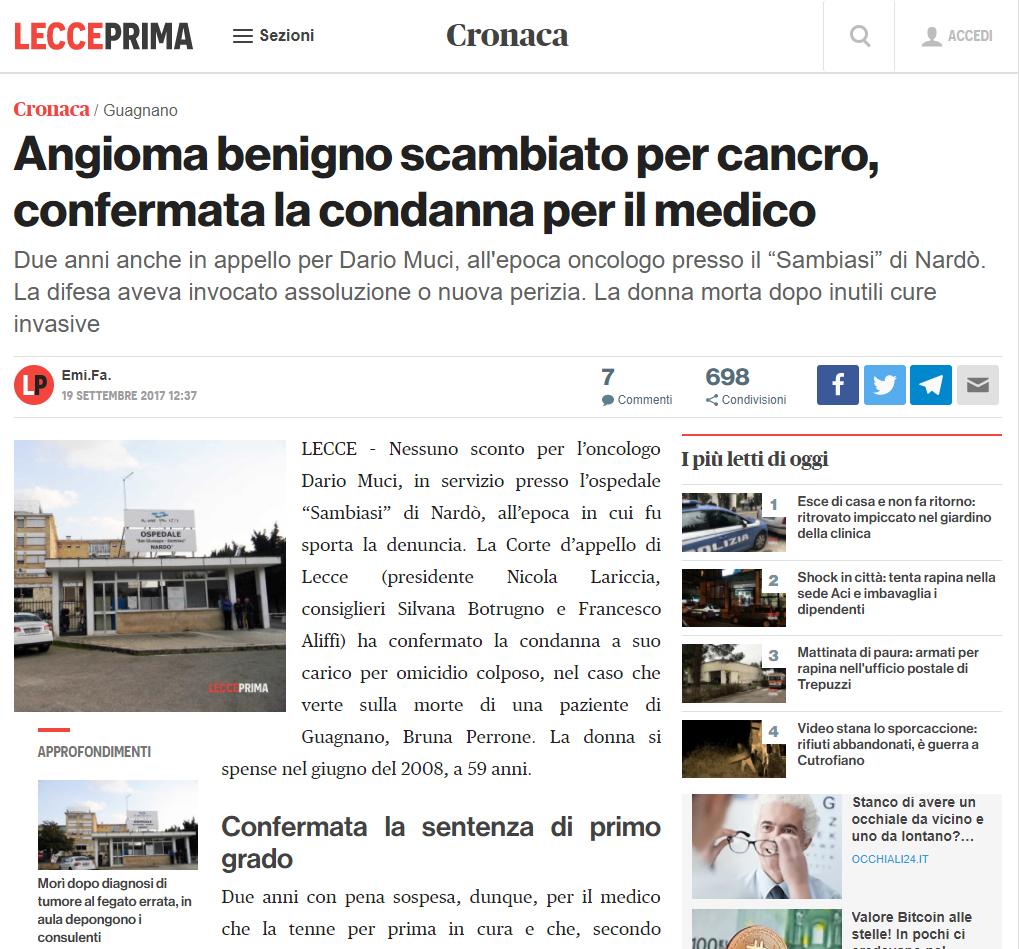 Malasanità Lecce