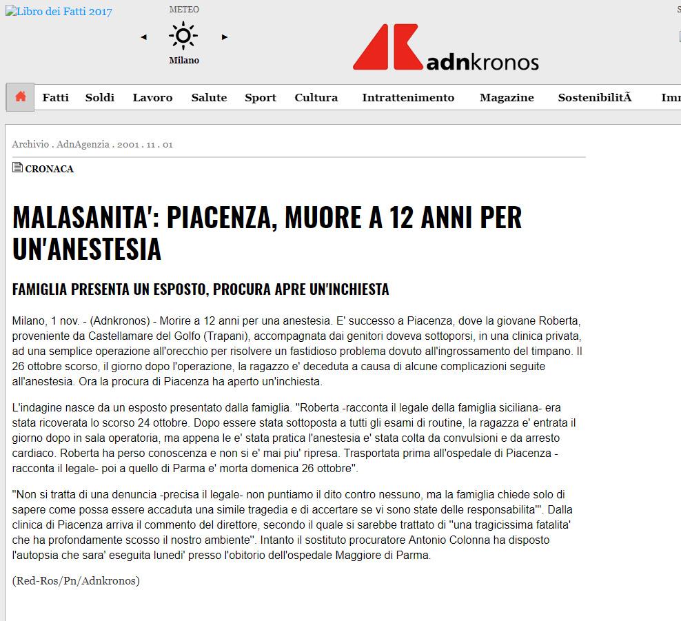 Malasanità Piacenza
