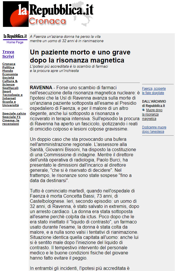 Malasanità Ravenna