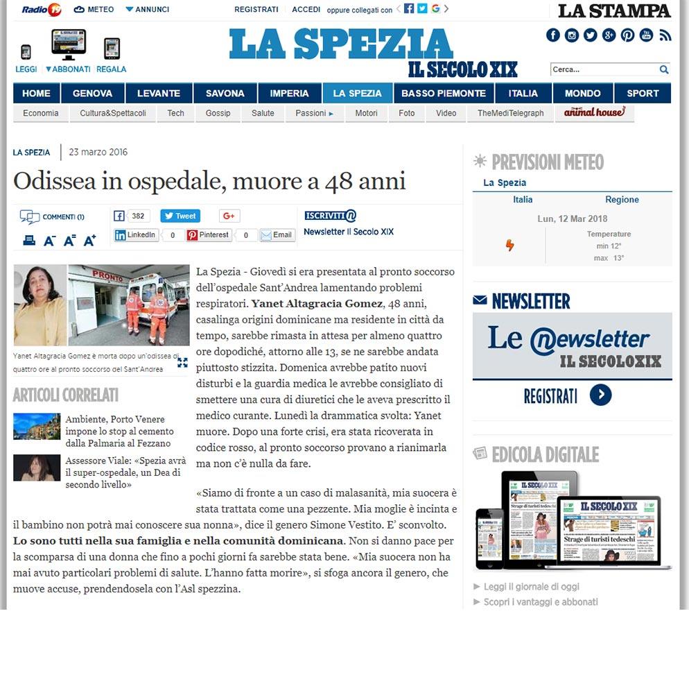Malasanità La Spezia