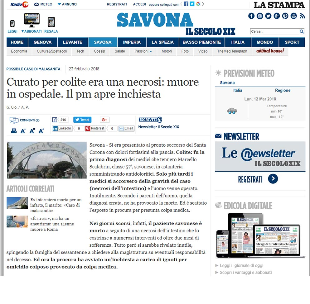 Malasanità Savona